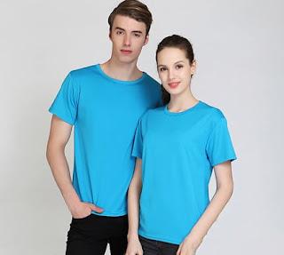 áo thun cổ tròn màu xanh dương