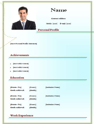 Download Simple CV Model With Picture Edtable CV