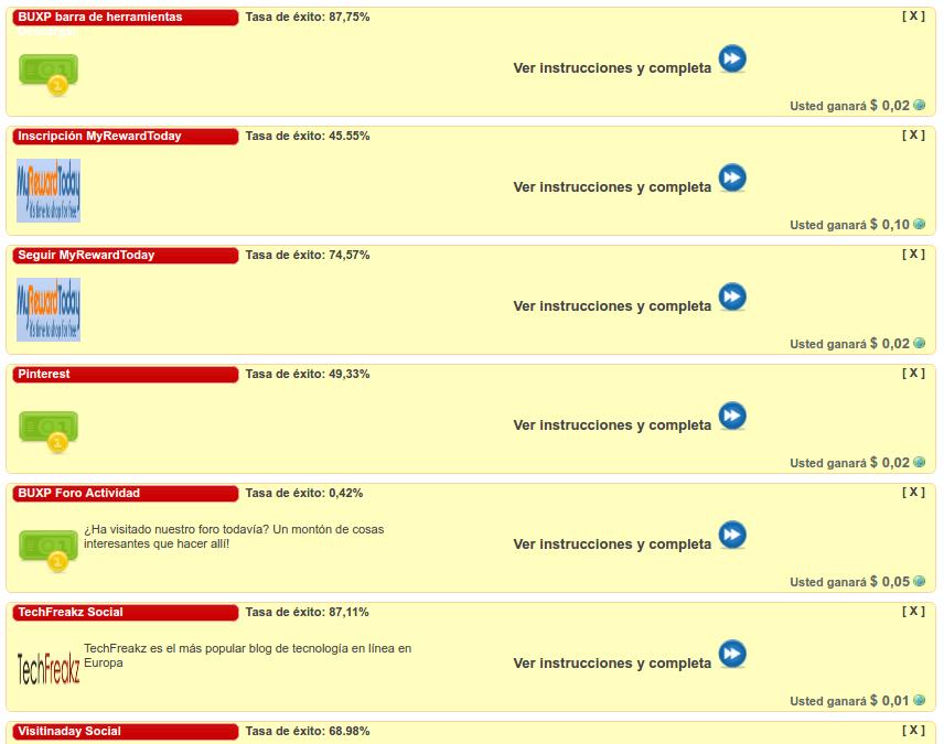 Tareas disponibles en BuxP