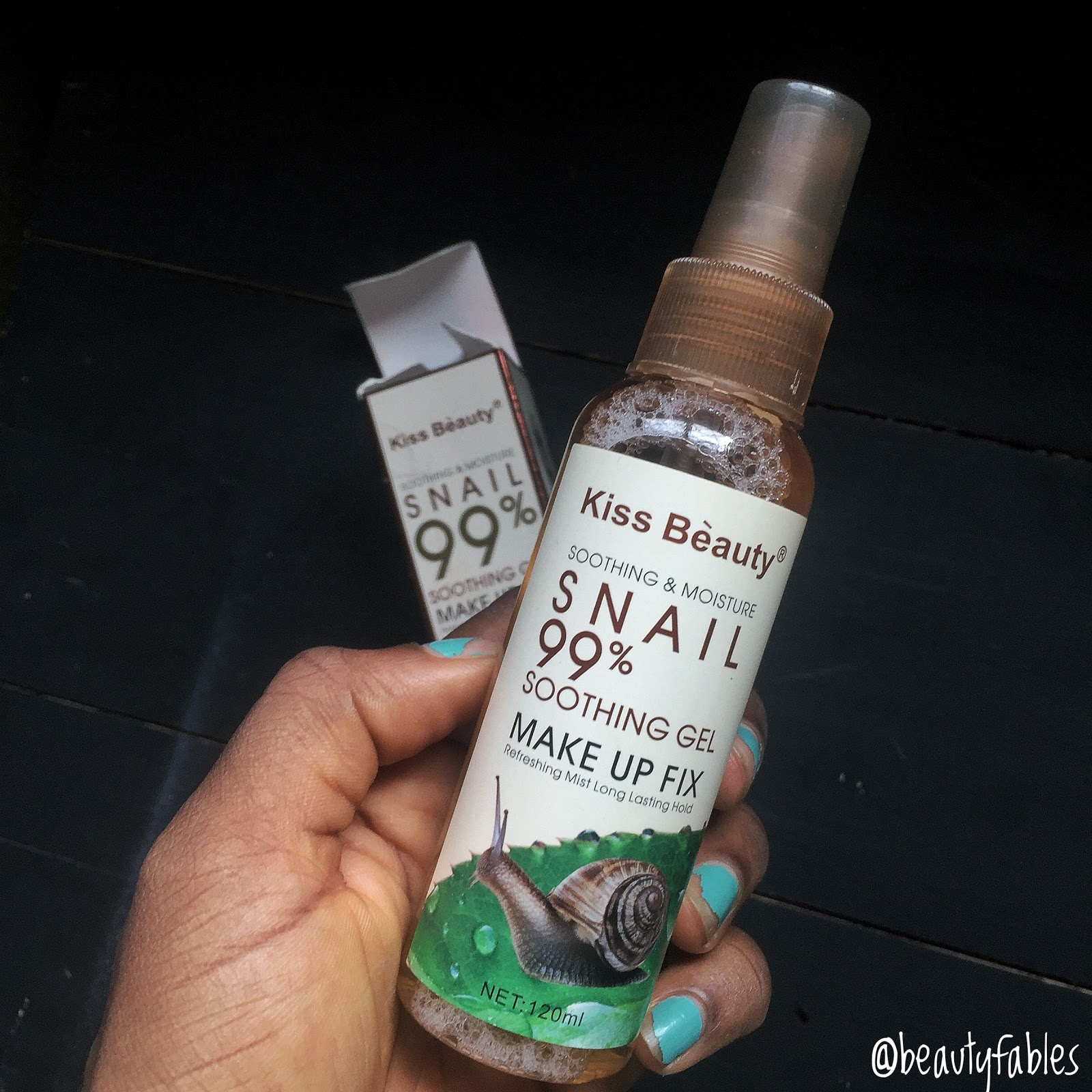 see why i stopped using the Kiss beauty make up fix spray with snail extract