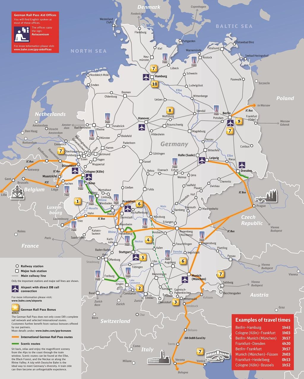 2019 German Rail Pass 優惠分佈及交通適用地圖