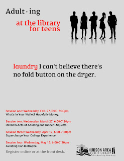 Adulting at the library for teens.  Laundry:  I can't believe there's no fold button on the dryer.