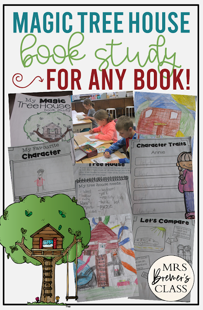 Magic Tree House book study unit with Common Core aligned literacy companion activities for EVERY book in the series for First Grade & Second Grade