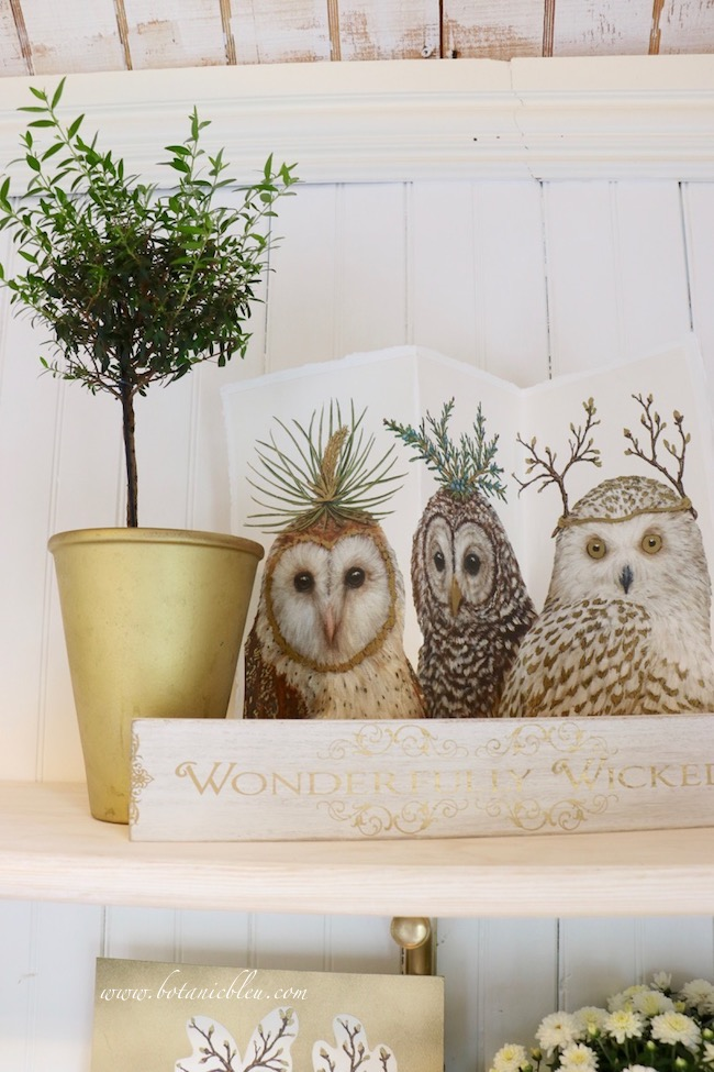 White and brown paper owls are an unusual alternative to black birds for Halloween decor