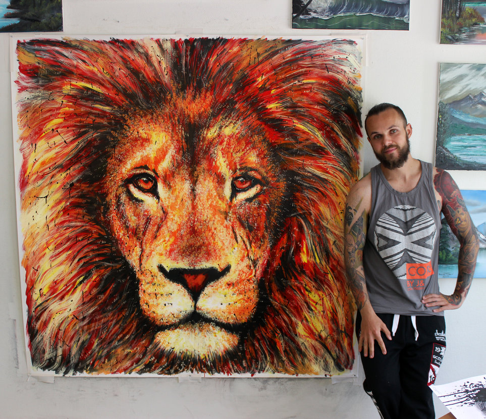 08-Lion-Splatter-Painting-Dino-Tomic-AtomiccircuS-Drawing-Painting-Tips-and-Digital-Art-www-designstack-co