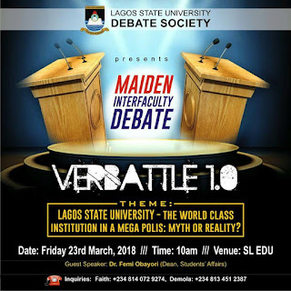 LASU Maiden Inter-Faculty Debate Schedule - 2018