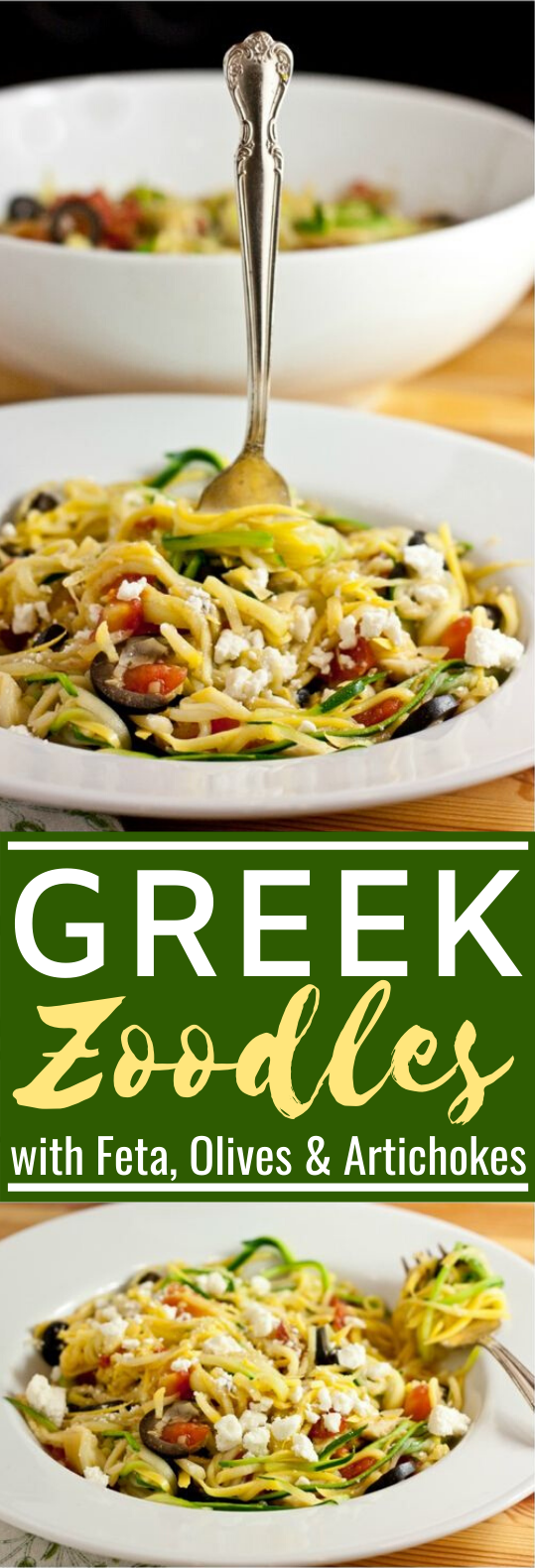 Greek Zucchini Noodles (Zoodles) with Feta, Olives, Artichokes and Tomatoes #healthy #glutenfree #lowcarb #keto #lunch