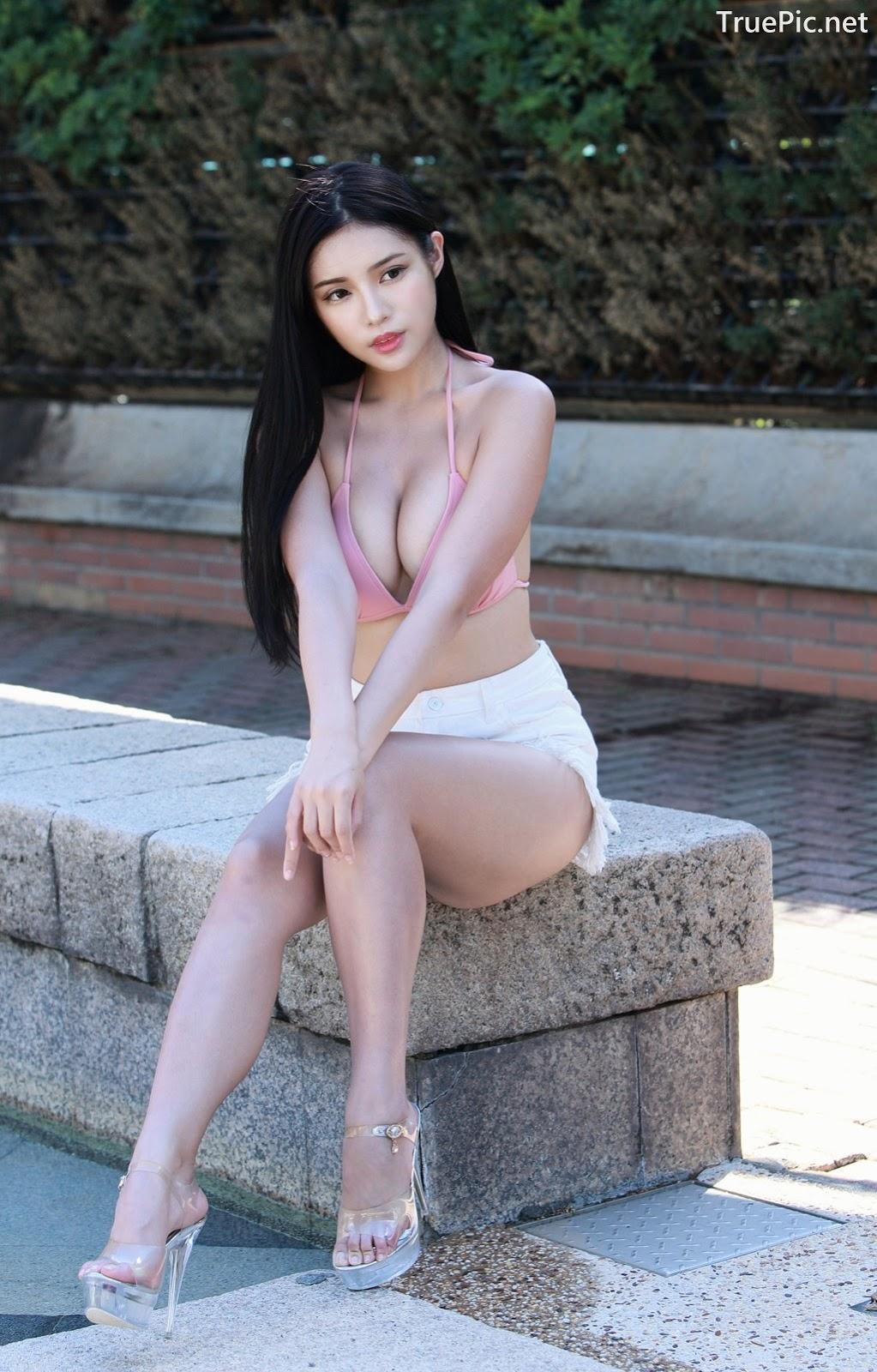Image-Taiwanese-Model–莊舒潔-ViVi–Hot-Pink-Bikini-Top-and-White-Short-Pants-TruePic.net- Picture-6