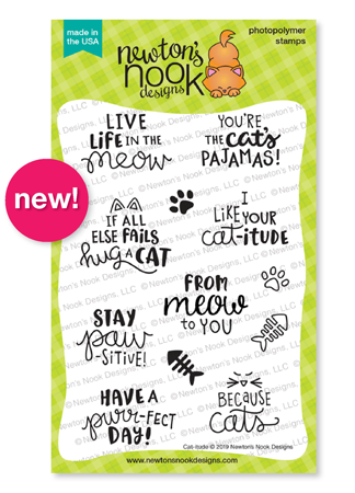 Cat-itude | Cat Sentiments Stamp Set by Newton's Nook Designs #newtonsnook
