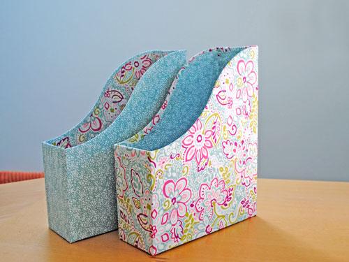 fabric covered ikea magazine files
