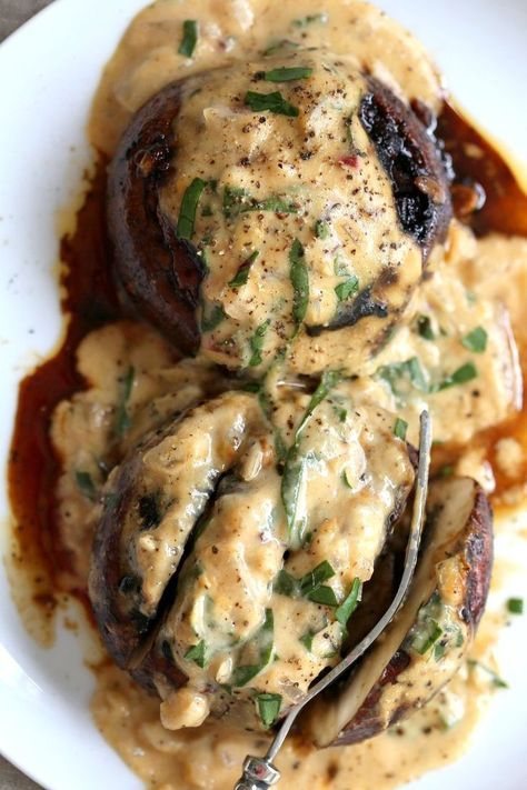 Grilled Portobello Mushrooms with Garlic Sauce. Grilled or Baked Marinated Portabella Mushrooms served with creamy garlic gravy. Vegan Gluten-free Recipe