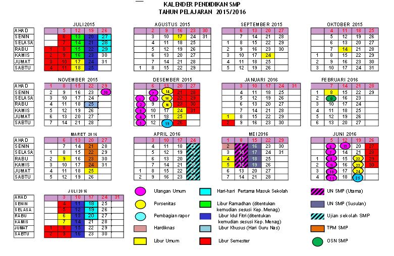 KALENDER PENDIDIKAN SMP/MTs KAB. BANTUL TAHUN PELAJARAN 2015/2016 ...