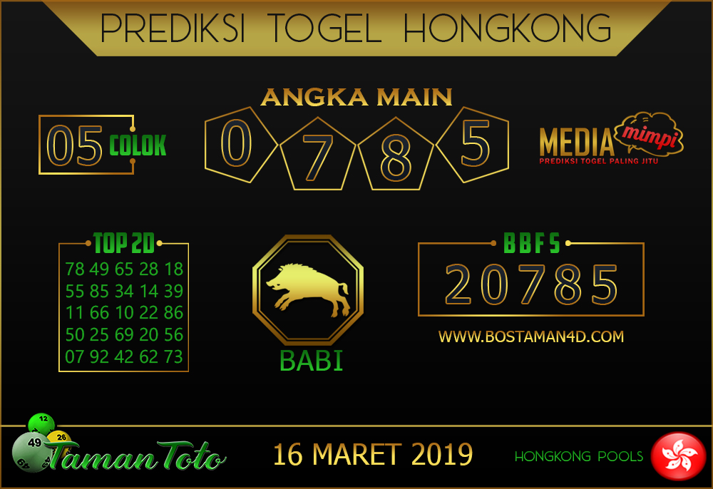 Prediksi Togel HONGKONG TAMAN TOTO 16 MARET 2019