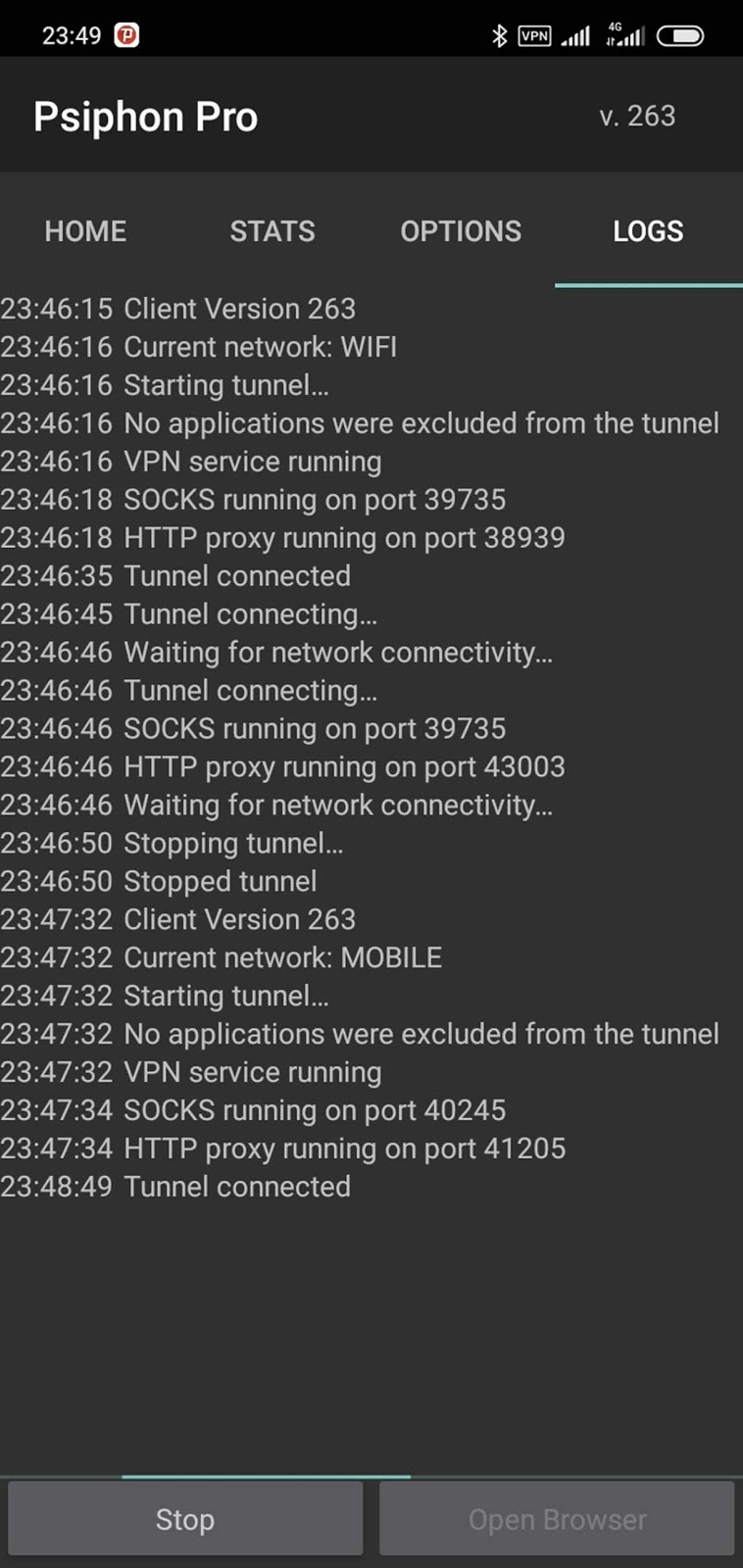 Tap on connect to obtain your free internet access using Psiphon