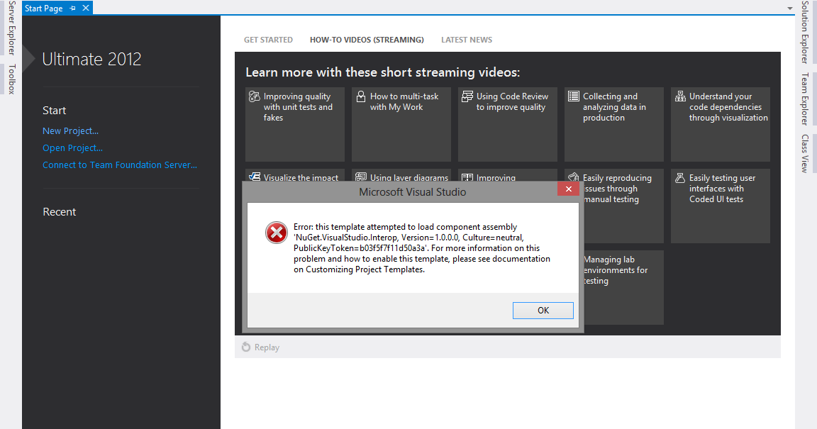 Error: this template attempted to load component assembly \'NuGet ...
