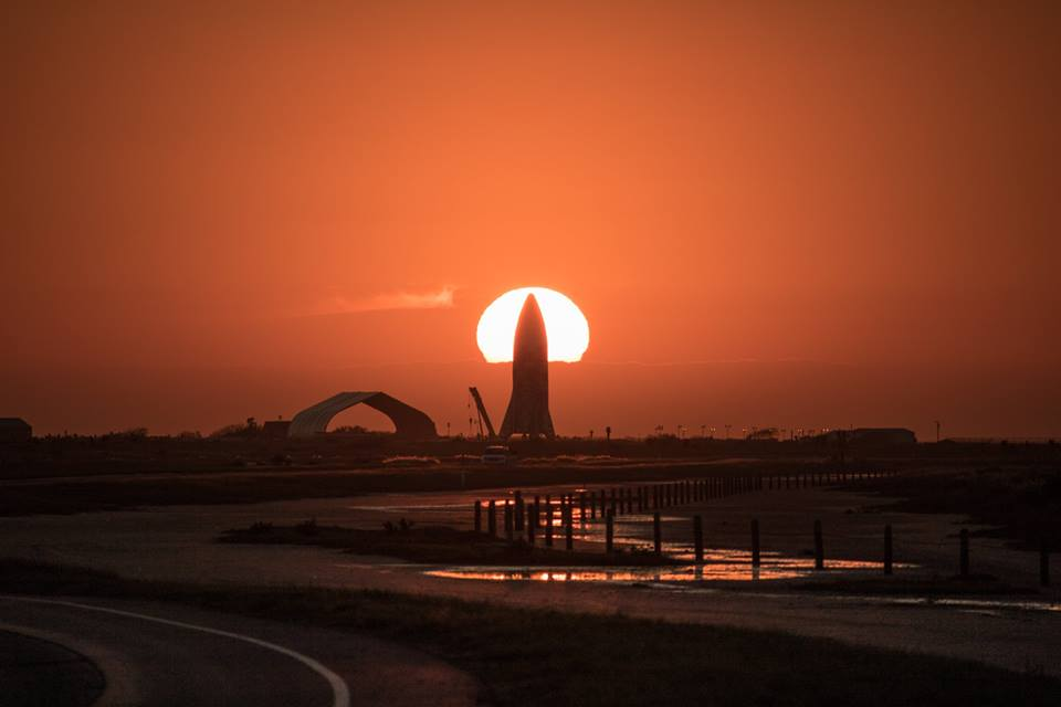 Photo of SpaceX's Starhopper at sunset on Boca Chica by Jaime Almaguer
