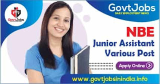 NBE Junior Assistant, Other Various Post Apply Online