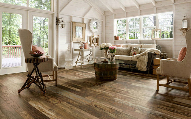 wide plank wood floor with random widths for a rustic look