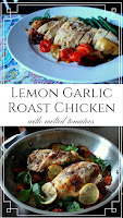 One-Skillet Lemon and Garlic Roast Chicken with Melted Tomatoes. Perfect for Sunday dinner! #roastchicken #oneskilletmeal #sundaydinner #chickenbreast
