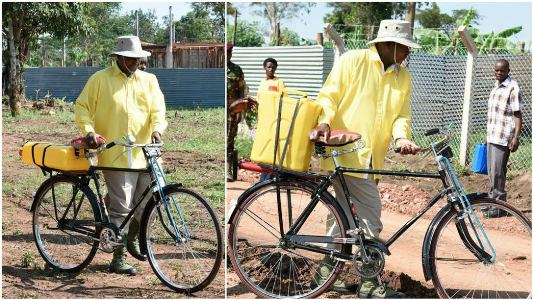 Ugandan President surprises villagers by fetching water on a bicycle (Photos)