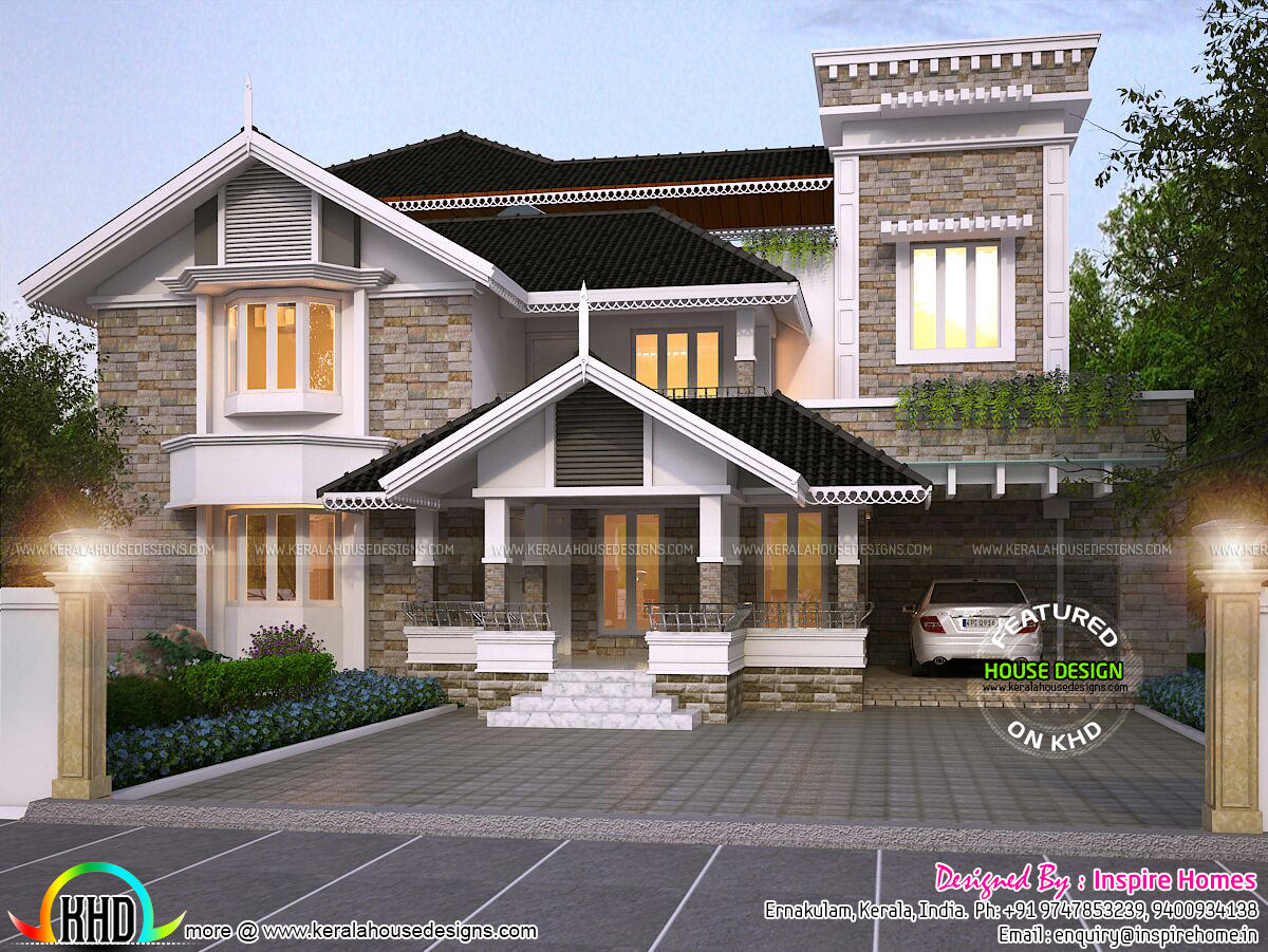 Luxurious modern mix traditional home and plan kerala for Traditional house architecture