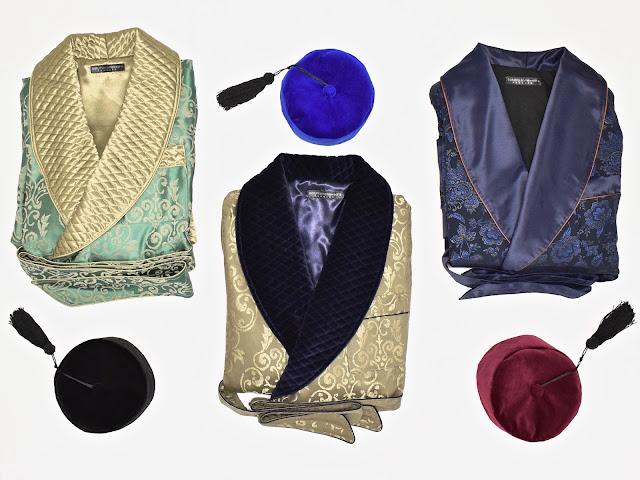 victorian mens quilted silk robe velvet smoking cap dressing gown