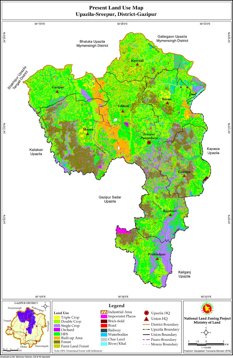 Sreepur Upazila Mouza Map Gazipur District Bangladesh