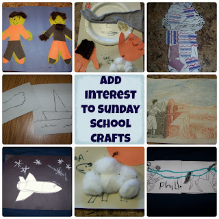 Ideas to add interest to Sunday School crafts - movement, scent, texture, and more