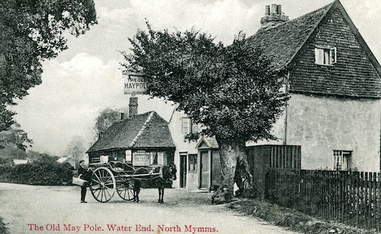The Old Maypole at Water End in the early 1900s Image by G Knott, part of the Peter Miller collection