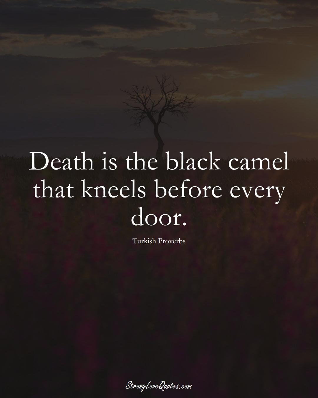 Death is the black camel that kneels before every door. (Turkish Sayings);  #MiddleEasternSayings