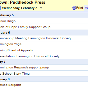 Puddledock Press Around the Town Calendar