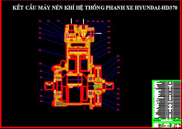 Kết cấu máy nén khí hệ thống phanh xe huyndai hd370