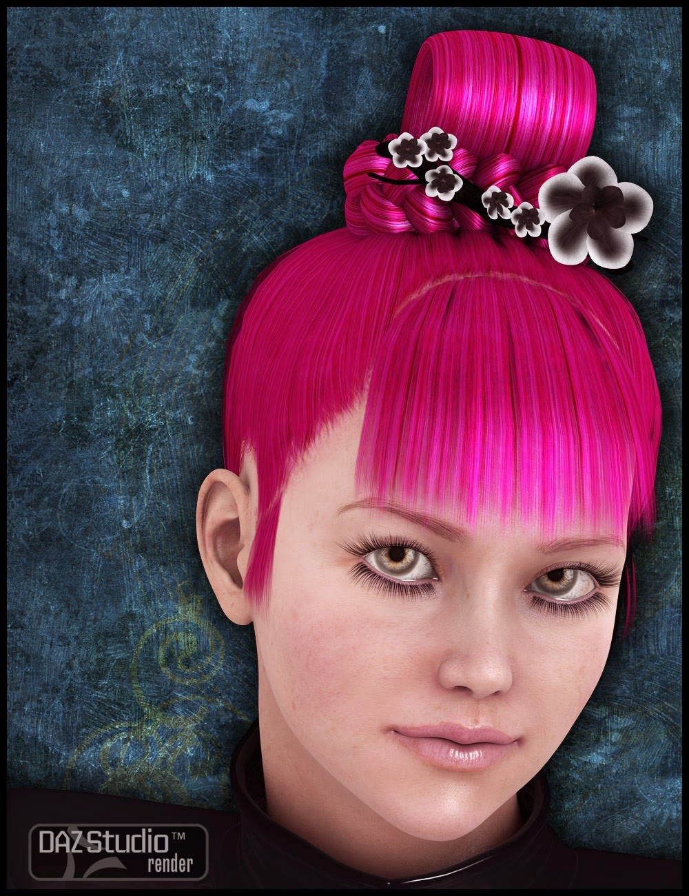 top knot hair styles daz studio 3 for free daz 3d ying hua hair 4096 | 6