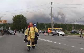 انفجارات قوية جديدة تهز مستودع الذخيرة في سيبيريا الروسية