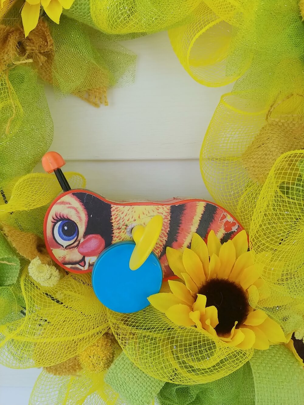 Vintage Fisher-Price Bumble Bee Wreath - Little Vintage Cottage
