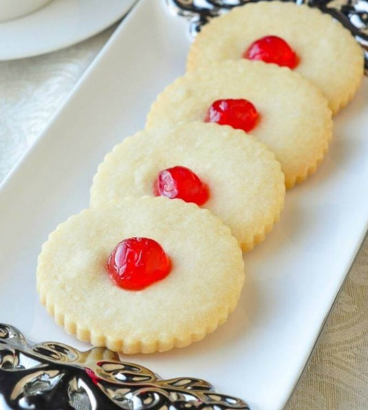Cherry White Chocolate Shortbread Cookies