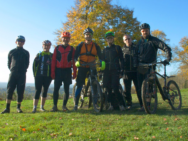 Mountain biking group shot.