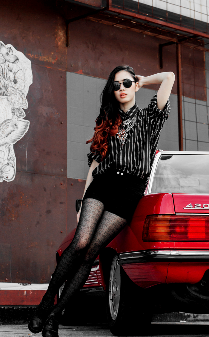 Brunei Blogger May Cho rock glam red car chic vintage fashion shorts happiness boutique platform heels