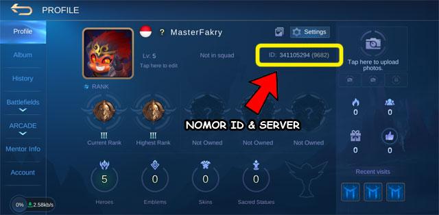 Nomor ID dan server MLBB terletak di laman profil pemain