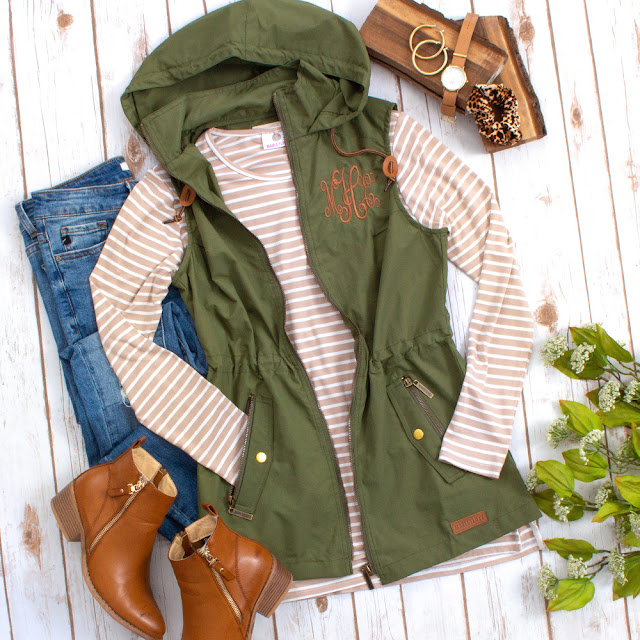 olive hooded utility vest outfit