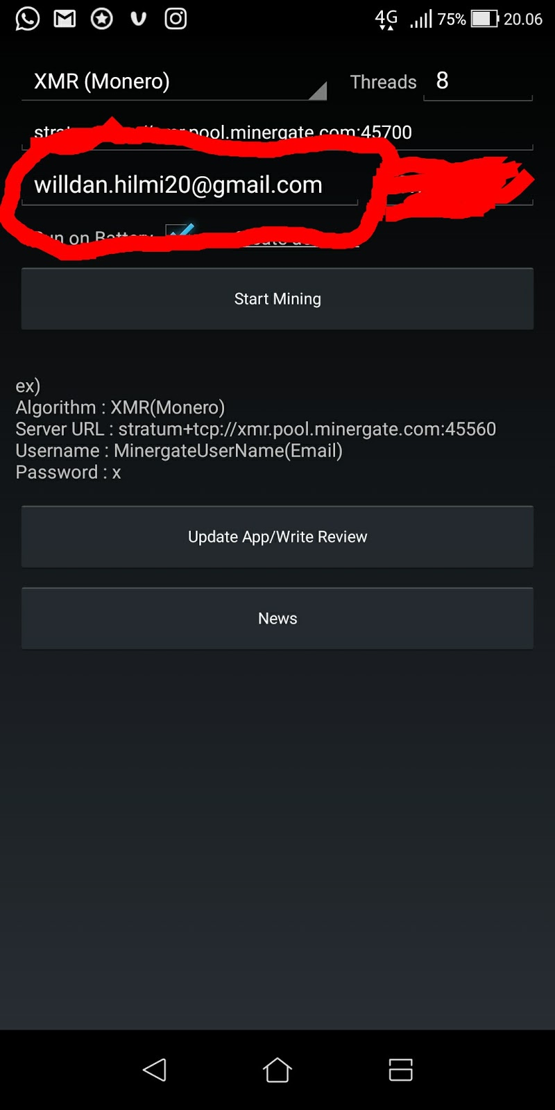 Minergate android tutorial