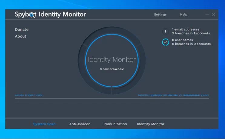 Spybot Identity Monitor : Δείτε αν ο λογαριασμός σας έχει παραβιαστεί