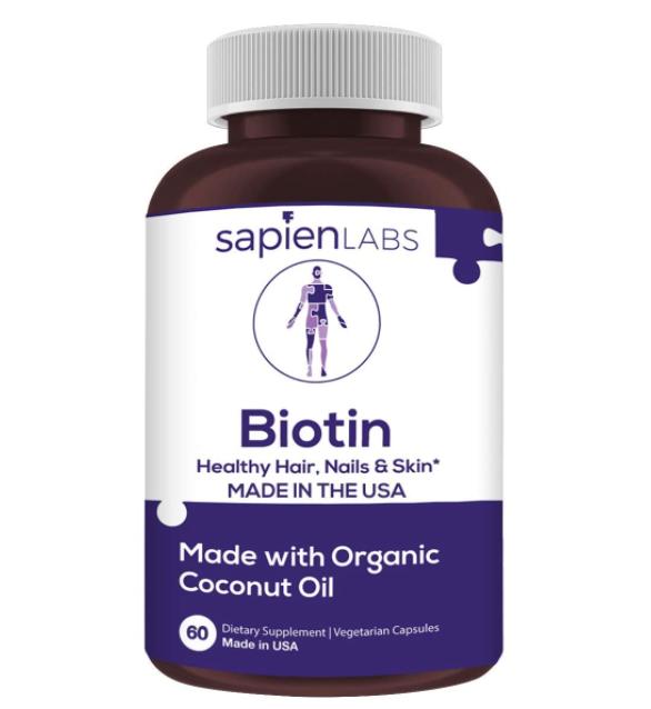 Sapien Body Biotin for Hair, Skin and Nails 10,000 mcg with Organic Coconut Oil – 60 Veggie Capsules