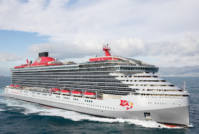 Virgin Voyage New Cruise Ship Scarlet Lady Arrives in Miami for the first time.From Italy's Fincantieri Shipyard