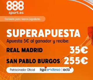 888sport superapuesta acb Real Madrid vs San Pablo Burgos 8 diciembre 2019