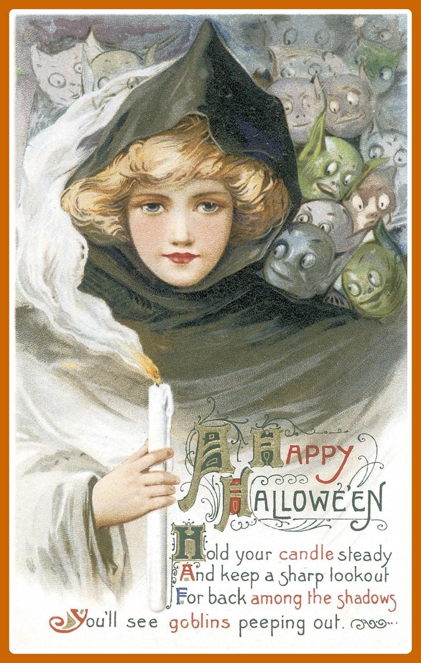 Старинные открытки в честь Хэллоуина - 12