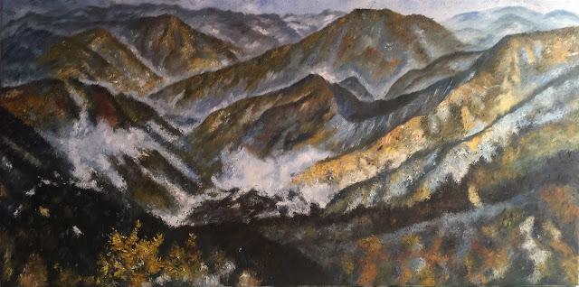 tranh sơn dầu vẽ núi