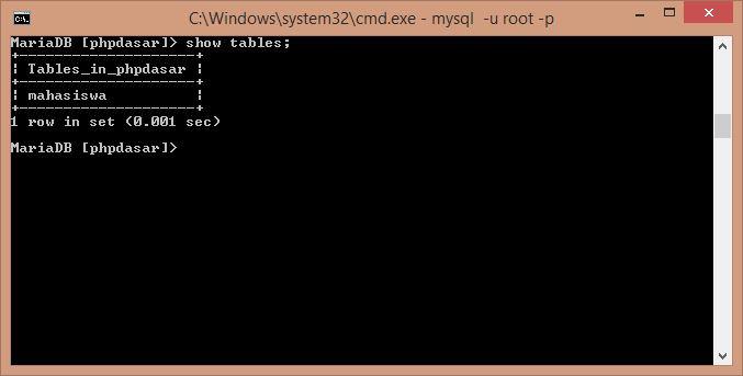Gambar Perintah menampilkan tabel database mysql