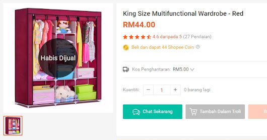 King Size Multifunctional Wardrobe - Red | Shopee