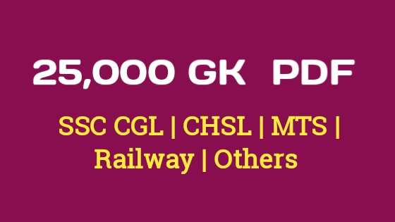 25000 GK PDF Book for SSC Exam